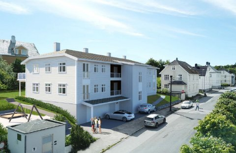 Slik ser tiltakshaver Jan Erik Hannaseth og ansvarlig søker Ikon Arkitekt og Ingeniør AS for seg at Tollinspektør Flors gate 18 skal se ut i framtiden. Her er det planlagt åtte leiligheter og parkeringskjeller.