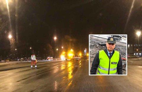 STOR RUNDKJØRING: Trafikk-koordinator Henning Ø. Johansen ved Politiet i Sør-Øst mener at en kjempestor rundkjøring i Mammutkrysset kunne løst problemene med trafikkavviklingen.