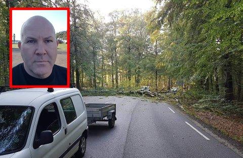 ENGLEVAKT: Hadde Frode Terjesen vært ett sekund eller to senere ute, kunne det ha gått riktig galt. Det store bøketreet smalt i asfalten rett bak bilen hans.
