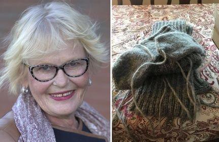 – De fleste har jo mye tid nå, så da kan man like så godt bruke tiden på å strikke, sier tidligere grytevakt Marit Haukom.