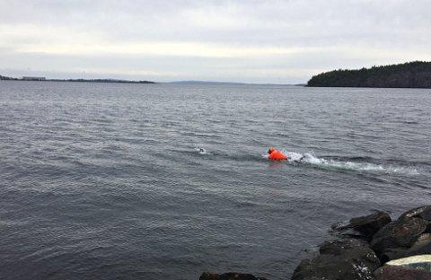 KASTET SEG I VANNET: En fra brannvesenet kastet seg i sjøen for å få tak i fuglene som var skadet.