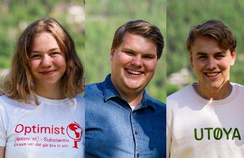 VEIVALG: Ada Lassen-Urdahl, Eivind Yrjan Stamnes og Fabian Wahl Sandvold er glad for vedtak i bypakke-saken.