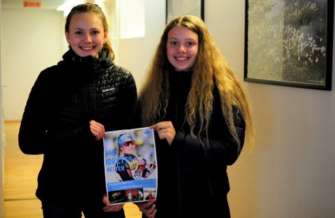 Lokale idrettshelter: Nora Rotevatn Dahlen (t.v) og Renate Løvlie Tuvmarken har startet en elevbedrift sammen med Hanna Kleven og Emma Ødegaard, og lager et magasin om nåværende og tidligere lokale idrettshelter.