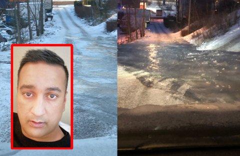 FARLIG! Eddnan Ali har sendt Avisa Oslo bilder som viser hvor ille det er i veien han bor i på Kalbakkken.