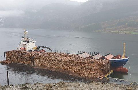 STANSA: I påska vil ein båt gå frå Kvamen kai i Dalsfjorden med tømmer. Kortid neste båt vil legge til kai her er usikkert.