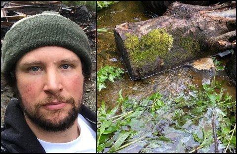 FORUREINA: Morten Landmark meiner at elva han bur ved er forureina av kloakk. Etter å ha rapportert til kommunen fleire gonger, har han no gått til politiet.