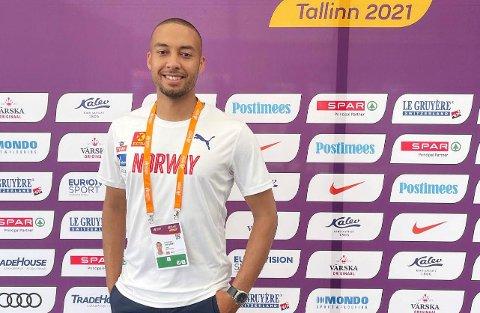 Jonathan Varela Byrkjenes (30) frå Strandebarm under eit stemne i Tallinn.