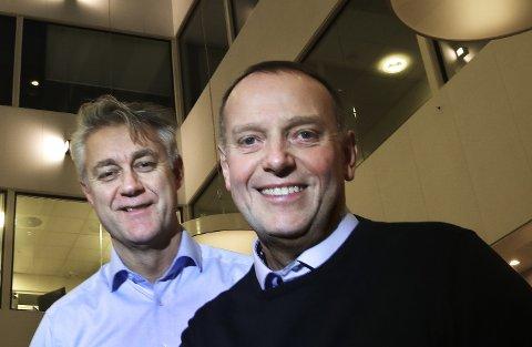 Sjefredaktør Jan-Eirik Hanssen og administrerende direktør Bjarne Holgersen i Avisa Nordland.