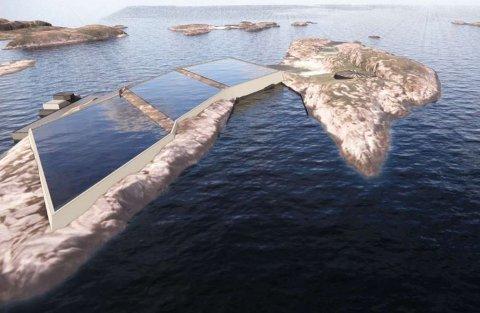 Slik kan de landbaserte oppdrettsbassengene bli  seende ut på Store Kalvøya.