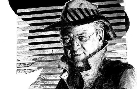 Tegning av Gunnar Staalesen i anledning hans 70-årsdag.