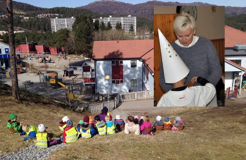 Ragnhild Short (innfelt) styrer Espira Ulsetskogen barnehage, som er på førsteplassen til flest søkere ved hovedopptaket i Bergen i 2017.