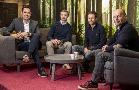 Fra venstre: Vegard Frihammer, Jan Erik Ødegård, Are Opstad Sæbø og Tomas Fiksdal ser lyst på Greenstats satsing fremover. For Frihammer er det ekstra spesielt å få Aker som medeier og industriell partner, i og med at det var i nettopp Aker han startet som lærling på Stord i 1993.