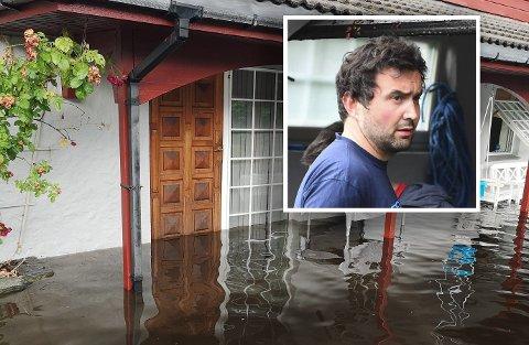 Vannet fosset mot Arne Rekdals hus etter et vannledningsbrudd i Fana.