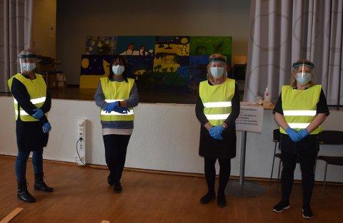 Helt nye vaksinehjelpere. Fra v. Lotte Sandvik, Line Thomte, Ragnhild Augstad og Rita Ødegård.