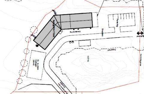 En av to skisser for hvordan det nye bygget til Enebakk Produkter kan bli plassert bakenfor dagens bygg.