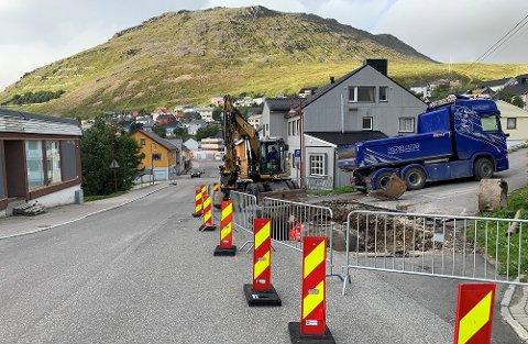 Arbeid pågår i krysset Storgata / Rådhusgata / Skolegata.