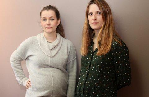 UROA: Maria Nygård og Cathrine Eikevoll ventar begge barn og er sterkt i mot kutta i jordmortenesta som levekårsutvalet gjekk inn for i møtet 13.11.