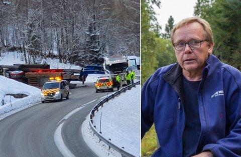 UROA: Arne Nistad og sjåførane hans er ikkje ukjende med E39 som arbeidsveg. Han meiner tysdagens hending viser kor sårbare ein kan vere ved uhell her.