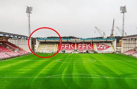 Den nye plassen: Her, i venstre hjørne på kortsiden lengst vekk fra elva, skal FFK-supporterne stå i 2016-sesongen. Det er de meget fornøyd med selv.