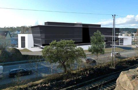 PLANENE:  Til høyre i bildet vises eksisterende showroom. Helt til venstre i bildet er flisbutikken i Mosseveien 51.