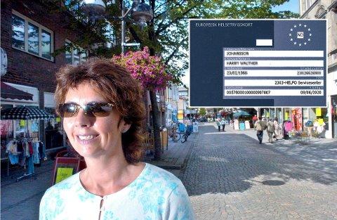 – HUSK KORTET: Lise Heidi Pettersen, for mange kjent fra butikken Presangen i Torvbyen, oppfordrer alle til å huske på helsetrygdkortet når de skal ut på reise. Arkivfoto: Erik Hagen