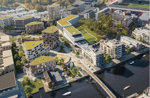 Planutvalget sa jeg til disse enorme planene for Værstetorvet. Fredrikstad Venstre sier, som rådmannen, at spørsmålet om kjøpesenter ikke er tilstrekkelig gjennomarbeidet. Tegning: Griff Arkitektur