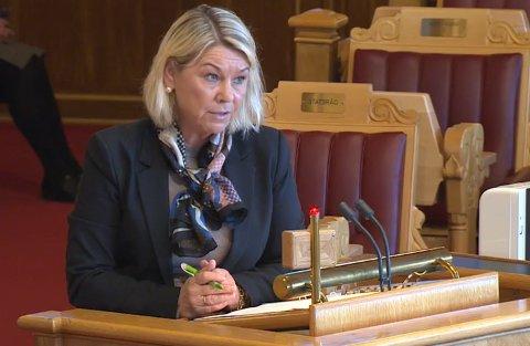 Justisminister Monica Mæland under Stortingets spørretime onsdag.
