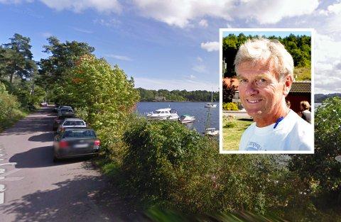 DÅRLIG STANDARD: Løvøyveien forfaller. Det ønsker grunneier Trond Schmidt (innfelt) å få gjort noe med, men han må ha kommunen, forsvaret og hytteeierne med seg.