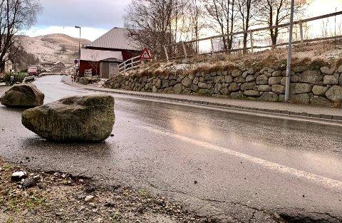 Sven Næsse og Ingrid Edland-Næsse så seg nødt til å sette opp steiner som hindret biler på fylkesveien fra å kjøre for langt inn i gårdsrommet deres i Edlandsgeilane.