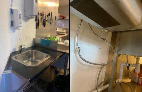 KOBLET FRA: Her skulle de ansatte ha vasket hendene inne på kjøkkenet i restauranten.