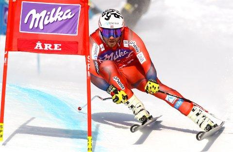 Kjetil Jansrud på vei ned mot sjetteplass i super-G-finalen i Åre.