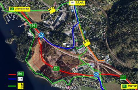 OMKJØRING: Her ser du en skisse av hvordan trafikken skal gå fra torsdag.