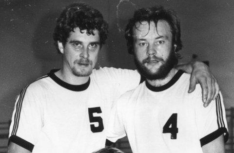 DRØMMELAG: Kjell Erik Faraasen (tv), her sammen med Bjørn Fjellbu etter en HIL-kamp i 1980, spilte A-lagshåndball i 15 sesonger.