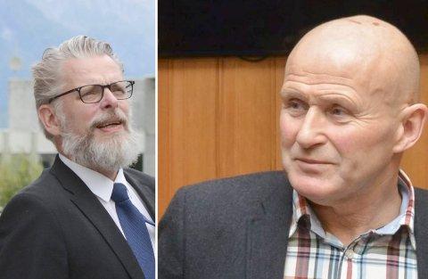 Gard Folkvord (Ap) og Lars O. Seim (Sp) stod på kvar si side i debatten om kva målform administrasjonen i Ullensvang skal svara innbyggjarane sine på. Arkivfoto