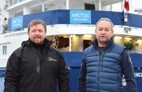 ØNSKER TURISTER TIL FINNMARK: Vegard Uglebakken (t.v.) og Stein-Are Blæss Paulsen skal ved hjelp av båten M/V Quest få turistene til Finnmark.