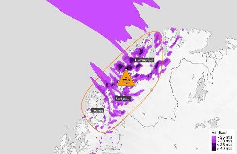 FAREVARSEL: Meteorologen har sendt ut oransje farevarsel for Finnmark.
