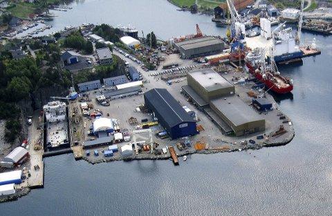 Halsnøy Dokk sitt industriområde i Høylandsbygd. (Arkivfoto)