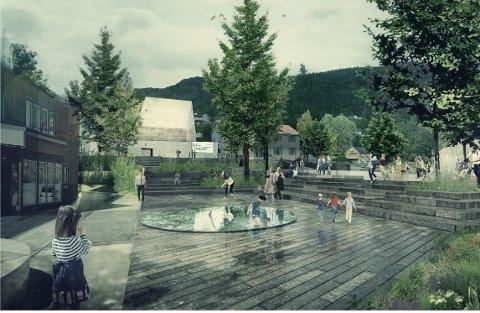 KOMMUNEHUSET: Slik ser arkitektene for seg hvordan det kan bli utenfor kommunehuset på Rødberg i fremtiden.