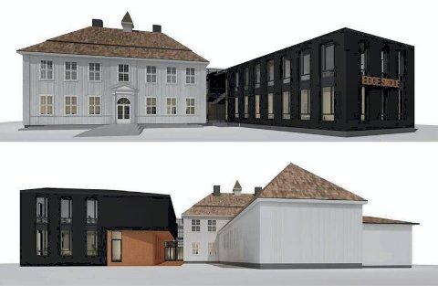 EN MULIGHET: Slik ser arkitektene for seg at Egge skole kan bli etter renovering og nybygg.Egge skole