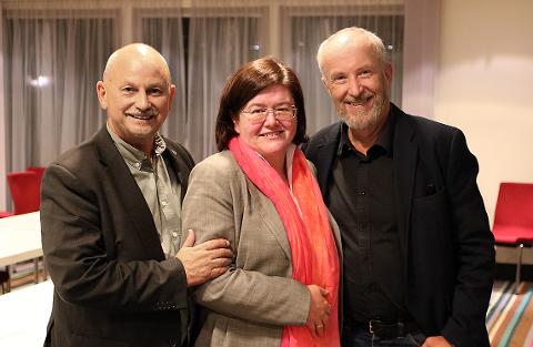 Fylkesordfører i Buskerud Roger Ryberg, fylkesordfører i Akershus Anette Solli og Østfolds fylkesordfører Ole Haabeth er fornøyd med resultatet av Viken-forhandlingene.