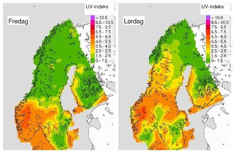 HØY UV-STRÅLING: Følg med på UV-varselet i helga, er rådet fra Meteorologisk institutt. Kart: Meteorologisk institutt/Yr