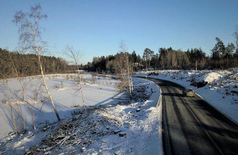 BLE HOGGET: Beltet mellom Botnertjernet og Larkollveien (venstre side av veien på bildet) er en del av Vardåsen naturreservat. Området på motsatt side av veien er LNF-område og ikke naturreservat.