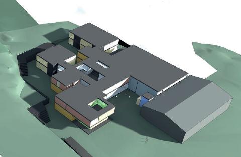 SKISSE: Denne skissen av den nye ungdomsskolen ble presentert for Våler kommunestyre torsdag. De endelige tegningene er ikke påbegynt ennå.