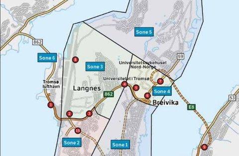 FLERE SONER: Skissene viser den planlagte inndelingen av bompengesoner i Tromsø. Strengere tiltak må til for å få nå målet om nullvekst, mener ny rapport.