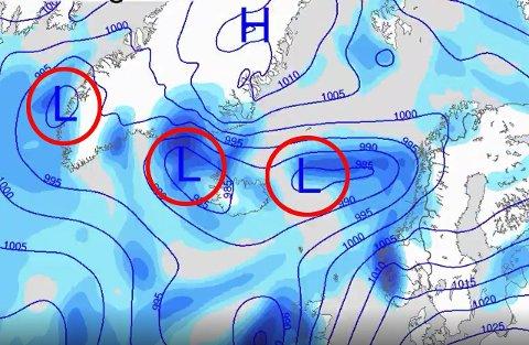 I KØ: Lavtrykkene står i kø og vil prege været neste uke, melder Meteorologisk institutt. Grafikk: Meteorologisk institutt