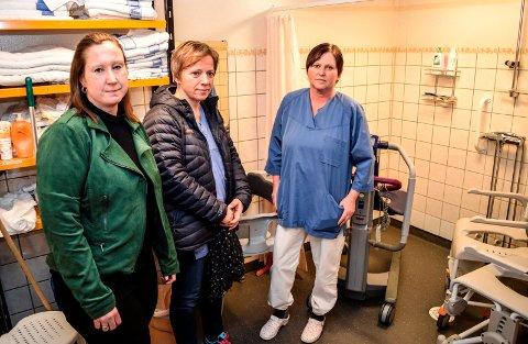 - Vi gleder oss til fellesdusjen erstattes med bad på alle pasientrommene, sier f.v. Ingeborg Engelien Andresen, Nina Aarstad og Kristin Skålerud.