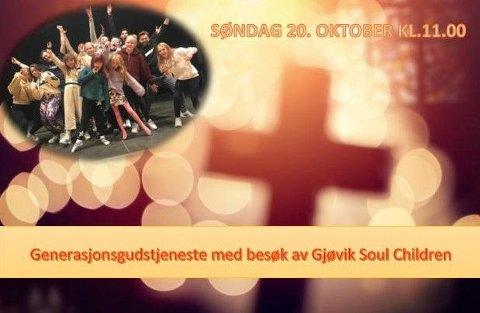 Velkommen til Generasjonsgudstjeneste med besøk av Gjøvik Soul Children