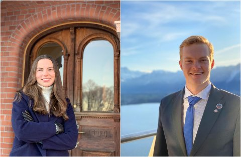 Trives som studenter: Ingeborg (23) og Edvard (22) trives som studenter tross den vanskelige tiden under korona og gleder seg til samfunnet åpner litt mer og man kan være sosial og delta på arrangementer.