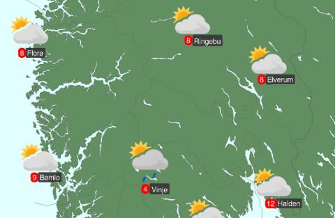 HELGEVÆRET: Lørdag peker seg ut som den beste dagen på værfronten i helga. Og i neste uke skal det bli vesentlig varmere.