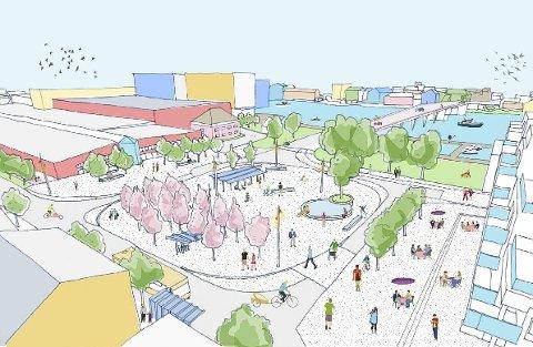 NYTT TORG: Dette er skissen som kommunen og Bypakke Grenland har laga for nye Franklintorget. Det blir knapt mulig å parkere der, men nå skal kommunen gå en ekstra runde for å dobbeltsjekke muligheter.